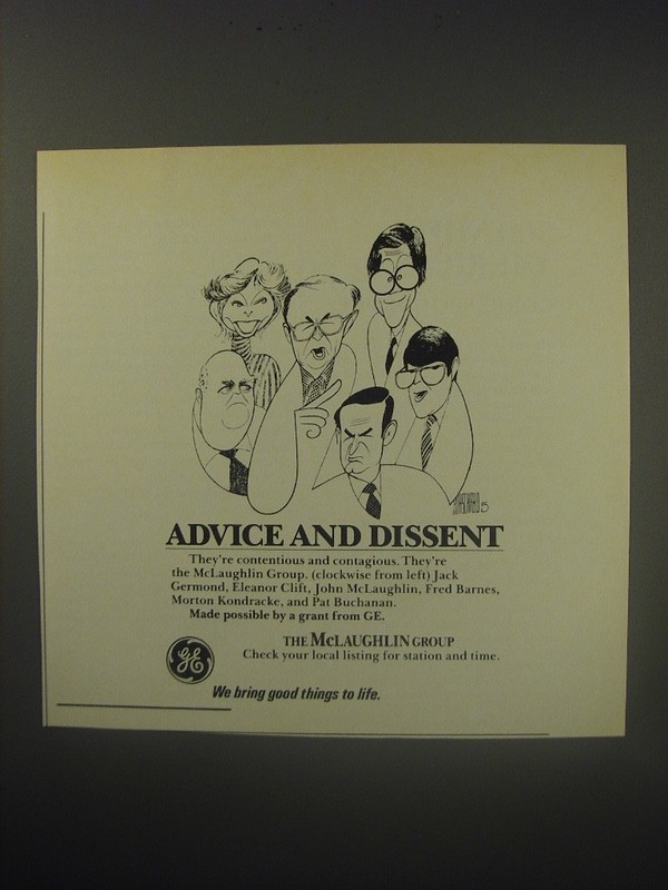 1990 GE The McLaughlin Group Ad - Advice and dissent
