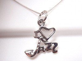 "I LOVE JAZZ Pendant 925 Sterling Silver Corona Sun Jewelry Saxophone as the ""J"" - $7.92"