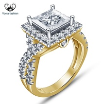 Yellow Gold Plated 925 Silver Princess Cut White CZ Criss Cross Engageme... - $75.99