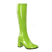 "FUNTASMA GOGO-300 Series 3"" Heel Knee-High Boots - Lime Green Str Patent - $45.95"