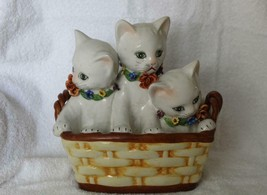 Vintage Made In Italy Ceramic Hand Painted 3 Cats In A Basket Bank Figurine - £162.59 GBP