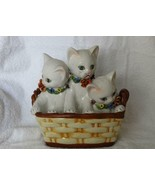 Vintage Made In Italy Ceramic Hand Painted 3 Cats In A Basket Bank Figurine - $202.50