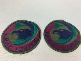 "Pair Usaf Us Air Force Squadron Cloth Patch Eagle Keeper F 15 Subdued 3-7/8"" - $5.99"