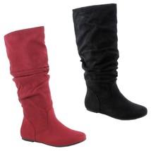 Soda ZULUU-S New Womens Mid-Calf Slouchy Flat Boots Scrunch Faux-Suede B... - $18.00