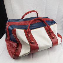 Vintage Scovill Red White & Blue Duffel Travel Vinyl Large Bag - Made in... - $63.21