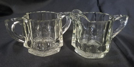 ANTIQUE INDIANA GLASS CREAMER AND SUGAR (PEERLESS COLONIAL PATTERN) - $22.50
