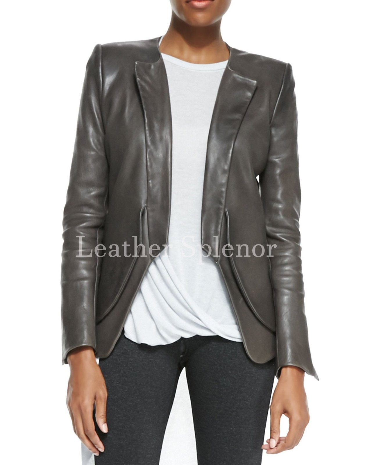 Designer Style Women Leather Blazer