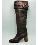 Chloé Paddington Womens Pebble Brown Leather Knee High Boots Size 39 - $257.39