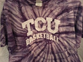 TCU Horned Frogs Basketball, Men's Medium 100% Cotton Short Sleeve Tie Dye Tee - $5.99