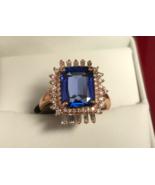 EMERALD CUT TANZANITE & DIAMOND RING 3.77cts  WOMEN JEWELRY PIRATE GOLD ... - $3,950.00