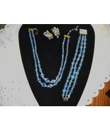 Vintage Crystal Necklace Bracelet & Coro Clip Earrings Light Blue Aurora... - $84.95
