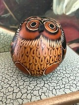 Tree Nut Owl Figurine 2x2.5 inch Signed Dominican Republic Handmade Coll... - $48.15