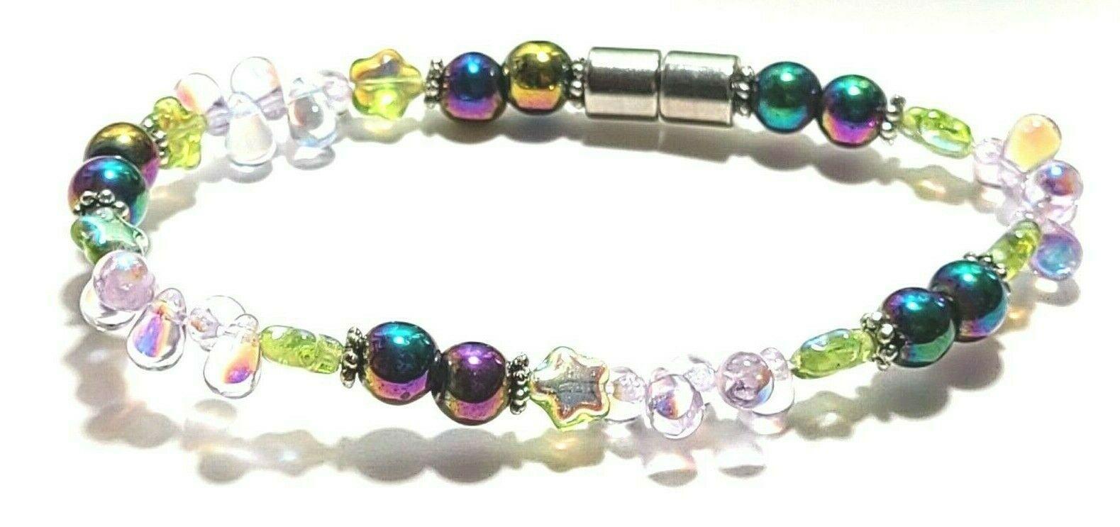 Beaded Bracelet Magnetic Hematite Clasp Single Strand   7 Inch   (MAG-018)