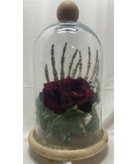 Skeletal Hand and Rose in Glass Dome Creepy Halloween Decor - $25.00