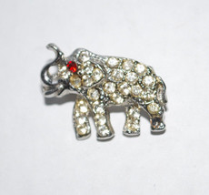 "Rhinestone Elephant Brooch Pin Fashion Jewelry 1"" Silver Tone Metal Red ... - $14.80"