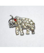 "Rhinestone Elephant Brooch Pin Fashion Jewelry 1"" Silver Tone Metal Red ... - $14.80"