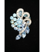 Weiss Ice Blue Brooch Pin Blue Prong Set Rhinestones With Pavé Ribbons  - $45.45