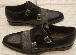Handmade Men's Black Leather And Tweed Two Tone Brogues Double Monk Shoes image 5