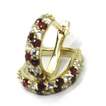 18K YELLOW GOLD MINI 10mm CIRCLE HOOPS EARRINGS, RED & WHITE CUBIC ZIRCONIA image 4