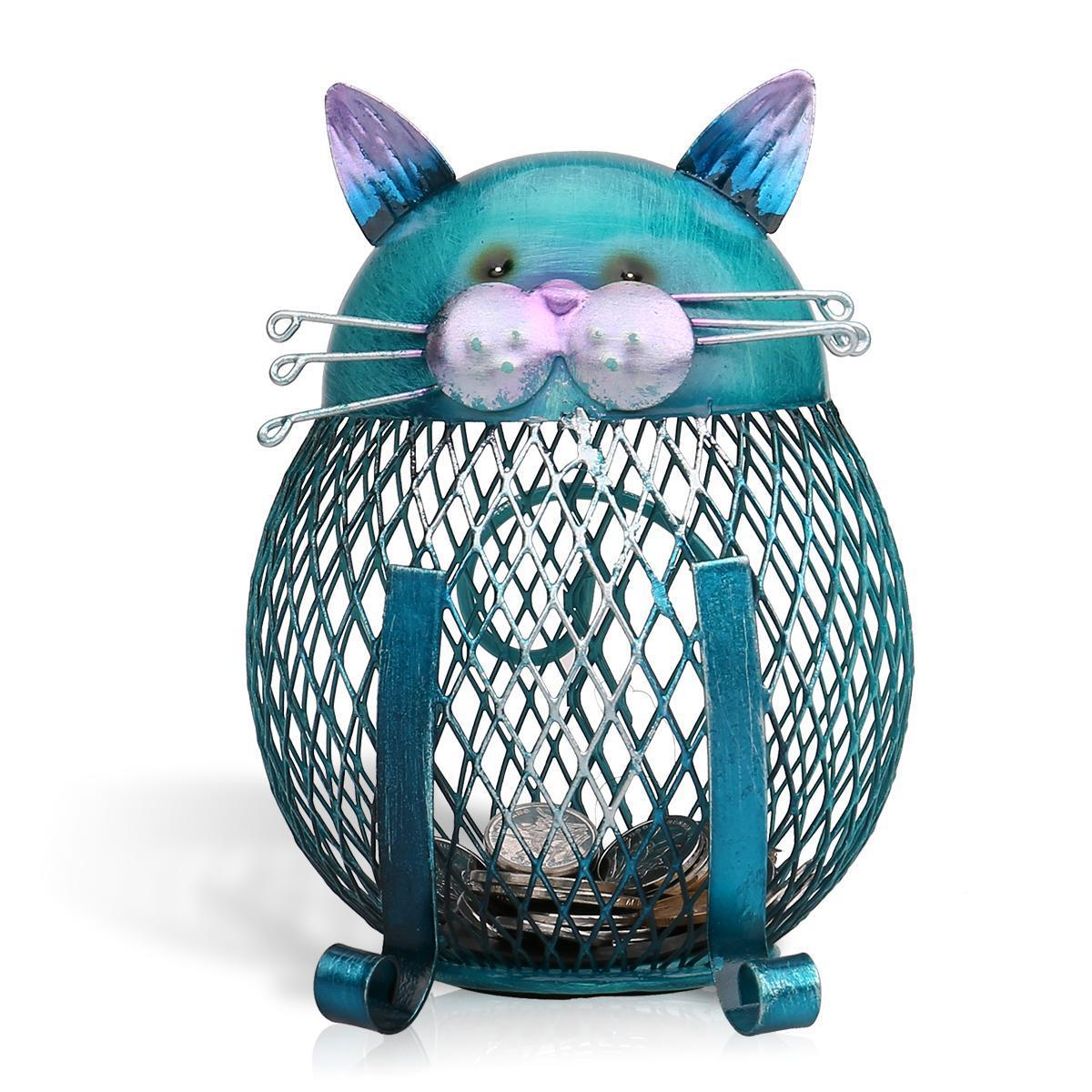 Blue cat bank shaped piggy bank metal coin bank money box figurines saving money home decor 18