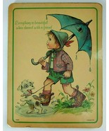 1977 Plaque Boy w/ Puppy & Quote Everything is Beautiful When Share w/ a... - $19.75