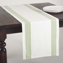 "SARO LIFESTYLE 519.LM1672B Striped Design Cotton Table Runner, Lime, 16""x72"" - $24.68"