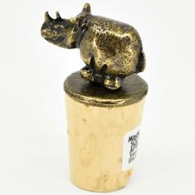South African Cast Metal w Antique Brass Finish Rhino Wine Bottle Cork Stopper image 3