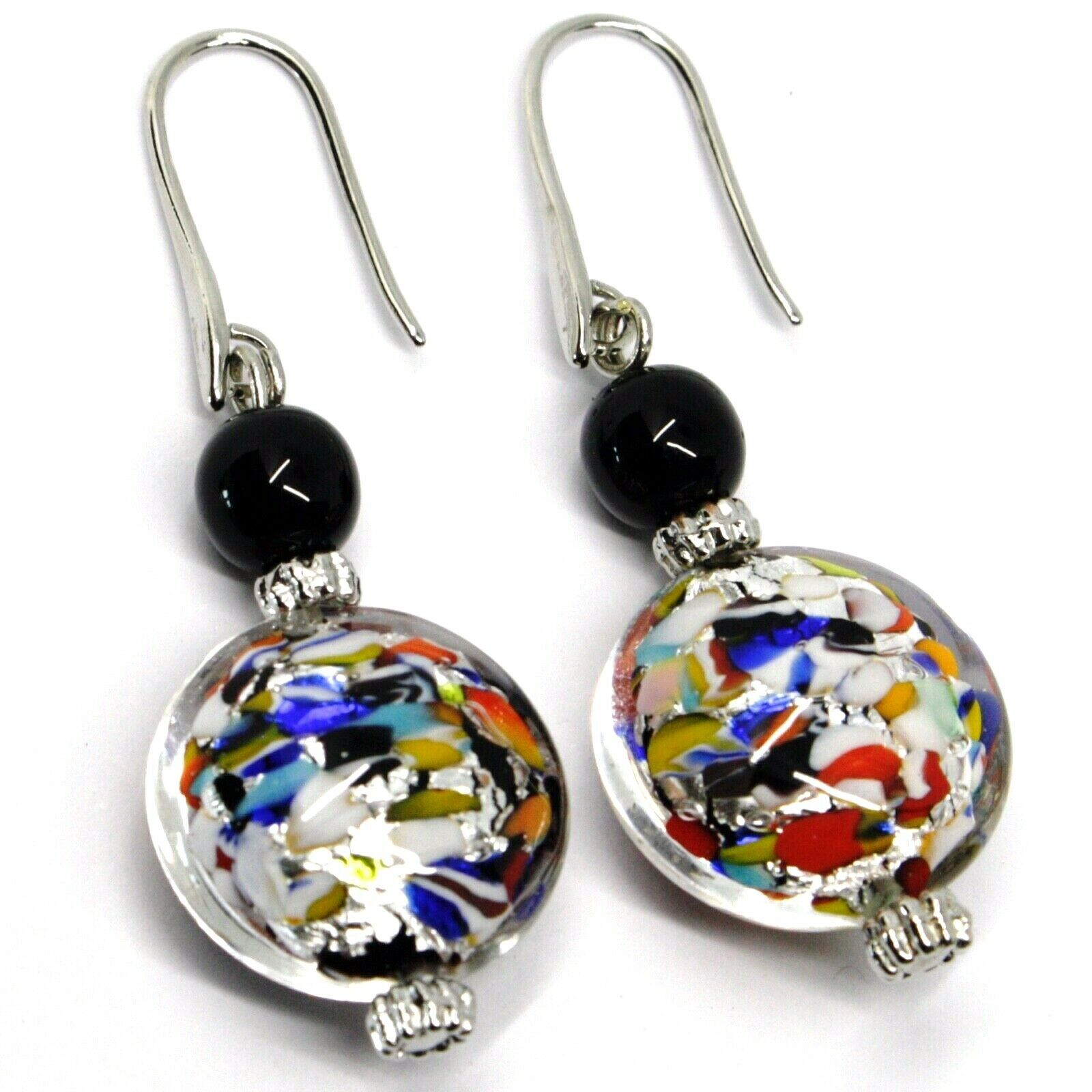 PENDANT EARRINGS MACULATE MULTI COLOR MURANO GLASS DISC, SILVER LEAF, ITALY