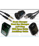 Samsung Transfix SCH R730 USB & Auxiliary Cable + Car + External Charger... - $18.12