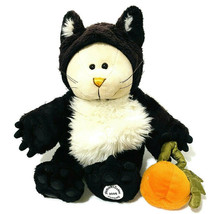 "Starbucks Plush Cat Bear Costume 11"" Black Beige Halloween Smile Pumpkin Basket - $12.19"