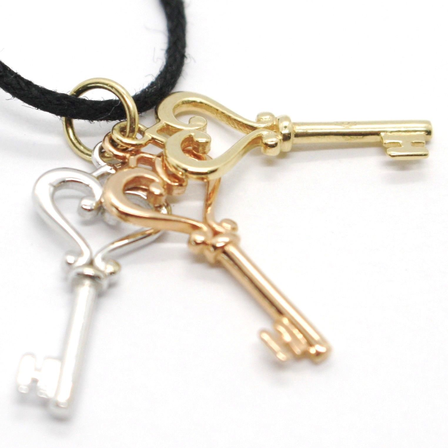 18K WHITE ROSE YELLOW GOLD TRIPLE KEY PENDANT, KEYS CHARM, HEART, MADE IN ITALY