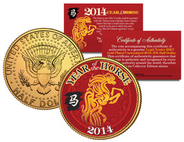 2014 Chinese New Year YEAR OF THE HORSE 24K Gold Plated JFK Half Dollar ... - $8.86
