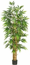 Nearly Natural Silk Belly Bamboo Tree 6 ft. Sturdy Ringed Trunk Plastic Green - $129.93
