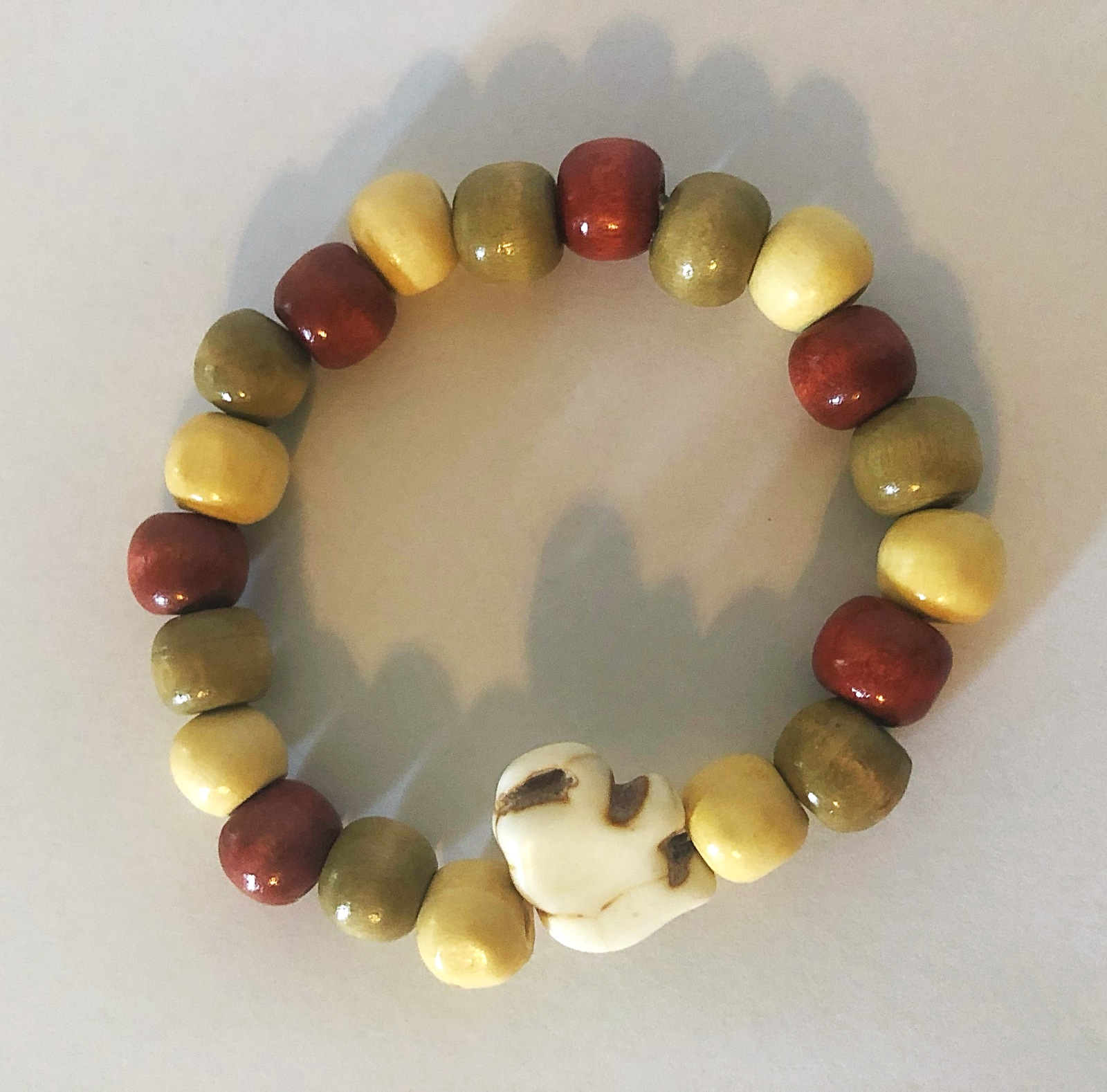 Chunky Wood Bead Elephant Bracelet. Help Support Wounded Warrior