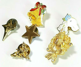 6 Vintage Lapel Pins Easter Rabbit Christmas Bells Wreath Cherub Star  Cross image 3