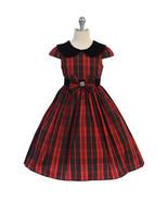 Red Classic Plaid Velvet Collar Waist Trim with A Bow Girl Dress - $37.00+