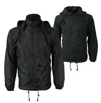 Men's Reversible Water Resistant Fleece Lined Hooded Rain Jacket w/ Defect  2XL