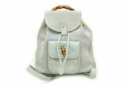 4d3acbb2c53 Auth OLD Gucci Vintage Bamboo Backpack Light Blue Suede Leather Canvas Gold  G230 -  424.71