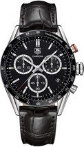 Tag Heuer Men's CV1A10.FC6235 Carrera Chronograph Black Leather Watch - $3,028.44