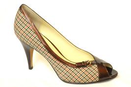 NEW AK Anne Klein Womens TORIE Pumps Brown Plaid 9M Peep Toe Buckle Front - $39.99