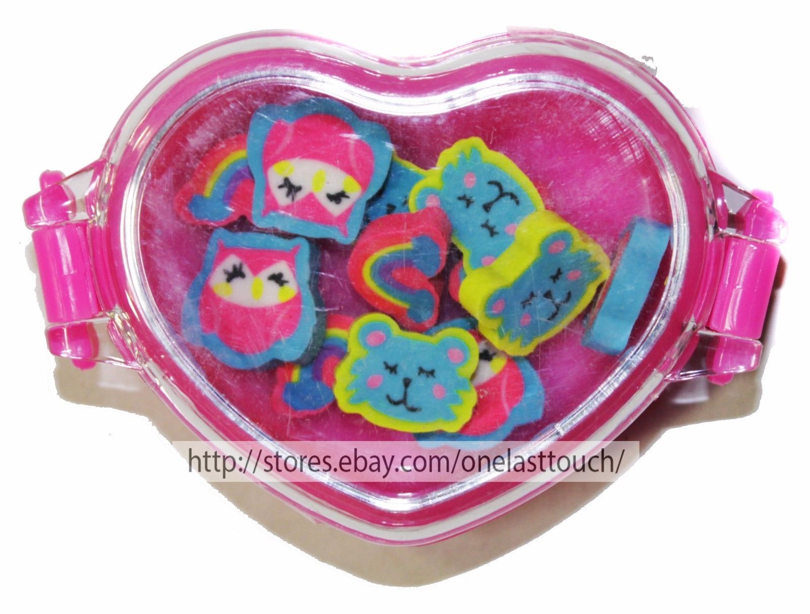 MADE FOR RETAIL* 12 Count MINI ERASERS Owls+Rainbows+Bears HEART CONTAINER New!