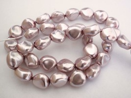 12 11 x 9 mm Czech Glass Nugget Beads: Pearl Coated - Lilac - $2.27
