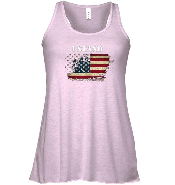 I Stand and Dont Kneel For Anthem USA Flag Flowy Racerback Tank image 3