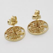 18K YELLOW GOLD EARRINGS WITH BEAUTIFUL WORKED TREE OF LIFE, MADE IN ITALY image 3