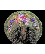 Antique Moe Bridges Mantle Lamp w/Antique Handmade Silk Ribbon Flower Lampshade - $965.25