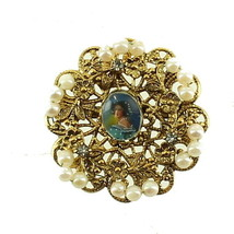 VINTAGE 50'S FILIGREE OVAL PLAQUE OF LADY HAND WIRED FAUX PEARLS SCALLOP... - $101.24