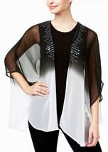 New OS STEVE MADDEN Black Ombre Chiffon Beach Cover Up Kimono Top Sequin... - €8,26 EUR