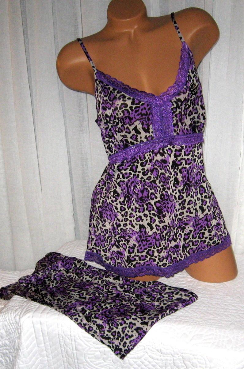 Plus Size Stretch Cami Top Pajama Set 1X Purple Animal Print Soft