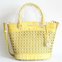 Nwt Brahmin Small Bowie Textured Leather Satchel Sunflower Lima - $241.87