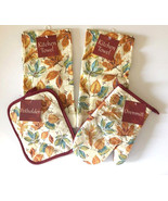 Fall Leaves Oven Mitt Pot holder Dishtowel Fall Harvest Thanksgiving Set... - $23.64